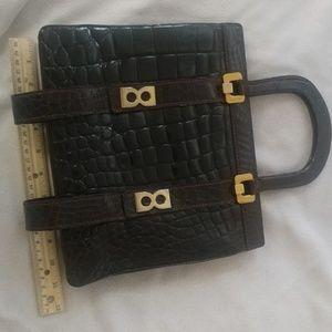 Vintage lancel leather embossed croc gator bag